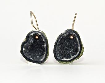 Deep Green Geode Earring 14k Solid Gold, Geode Drusy Earring in Solid Gold, 14k