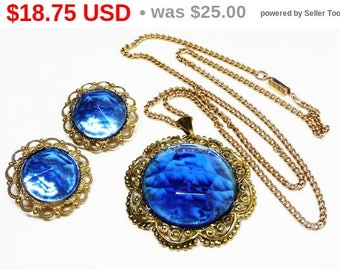 W Germany Necklace & Earrings Set - 1960's Vintage Demi Parure - Blue Glass Faceted Stone - Goldtone Scalloped Edge - European Jewelry