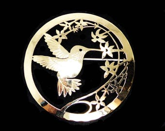 "Wild Bryde Hummingbird Pin - 2"" Circle Brooch with Cut Out Bird and Flowers Design - Signed Wild Bryde - Gold Tone Plating"