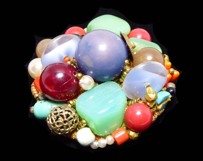 Rare Round Art Glass Brooch Signed Leni Kuborn-Grothe in Kitzbuhel Austria, Multi Colored Beads, Beaded Faux Pearls, Hand Made Vintage 1950s