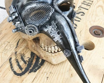 Distressed Silver Pewter 'PLAGUE DOCTOR' Steampunk Festival Masquerade Burning Man Mask with Gears and Tubes - A Burning Man Must Have