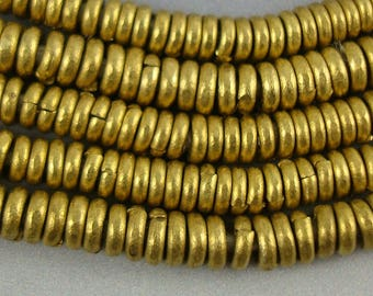 Brass Spacers, Brass Heishi, Spacer Beads, Metal Spacers, Small Spacers, 1.2mm x 3.8mm,to 1.3mm x 4.2mm Sold by the strand