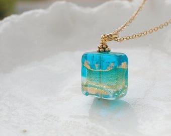 Blue Venetian Murano Glass Square Necklace