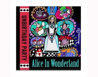 Alice in Wonderland Book Lover Tile by artist Heather Galler White Rabbit Mad Hatter Tea Party Childrens Book Gift