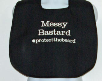Custom Funny Adult Bib, Protect The Beard, Mans, Messy Bastard, Personalized With Name, No Shipping Charge, Ready To Ship TODAY 1076