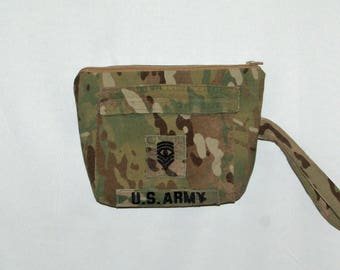 Army Desert Camo Camouflage Wristlet, Cosmetic Clutch, Little Bag, Purse, Uniform Upcycled, No Shipping Fee, Ready To Ship Today AGFT 439