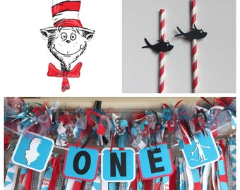 """Cat in the Hat Birthday Party Decorations - Cat in the Hat Balloon - 42"""" Cat in the Hat Foil Balloon - Cat in the Hat 1st Birthday Decor -"""