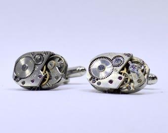 Stunning rectangular watch movement cufflinks ideal gift for a wedding, birthday or anniversary 125