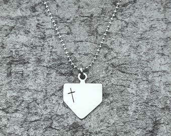 Baseball Jewelry – Softball Jewelry – Homeplate Charm Necklace – Home Plate Necklace – Christian Sports Jewelry – Handmade Baseball Charm