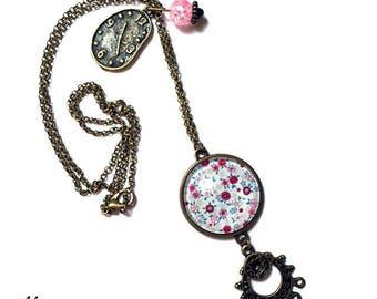Cabochon necklace * flowers * bronze