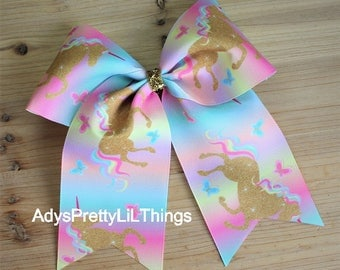 Unicorn Bow Horse Bow Unicorn Cheer Bow Sports Bow Colorful Hair Bow Gold Bow Boutique Bows Hair Clip Girls Bows Girls Hair Accessories