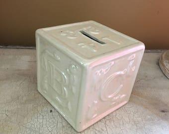 Iridescent Ceramic Baby Block Bank