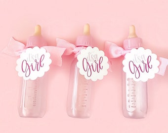Baby Girl Bottle Party Favors Unfilled Spinkle Candy Small Bottles Bow and It's A Girl Scalloped Cardstock Tag