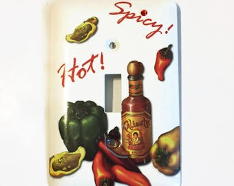 Hot and Spicy Single Light Switch Cover, Peppers, Jalepinos, Caliente Sauce, Kitchen Accent, Spicy, Hot