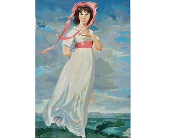 "Large 18""X 28"" Mid Century Paint-by-Number of Sir Thomas Lawrence's ""Pinkie"" with Original Box"