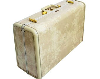 1950s Samsonite Suitcase in Ivory Faux Marble