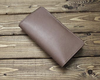 BASEBALL GLOVE Cream Brown Leather wallet for iPhone (Free Personalization)