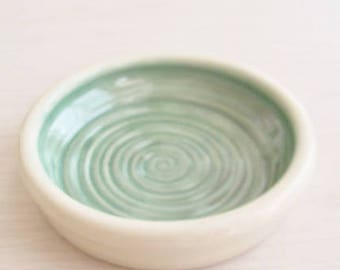 Soap Dish  Coaster Spoon Rest  Catch All Green and Off White Stoneware Handmade Ceramic Pottery