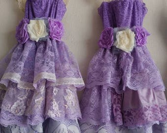 Custom flower girl dress, lace dress, birthday dress, pink dress, pink and purple, princess dress, handmade, Victorian, pageant dress