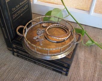 Vintage Shabby Brass Faux Bamboo Tray BRASS Trinket/Change Dish Very VINTAGE Brass Candle Holder BOHO Brass