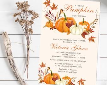 Little Pumpkin Baby Shower Invitation, Pumpkin Baby Shower Invites, Watercolor, Printable File or Printed