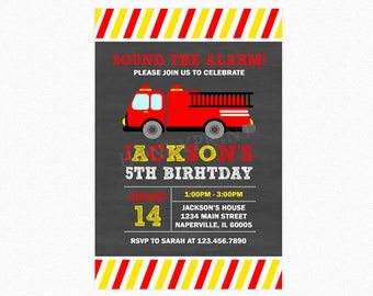 Fire Truck Birthday Party Invitation 2, Fireman Birthday Party Invitation, Personalized, Printable or Printed