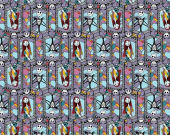 Springs Creative Disney Nightmare Before Christmas Sally & Jack Stained Glass Fabric - 1 Yard