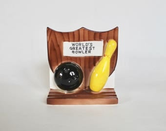 "Vintage 1950's Relpo Painted Ceramic ""World's Greatest Bowler"" Trophy Planter! Man Cave Decor!"