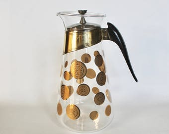 Vintage 1960's Coffee Pot/Carafe with Gold Greek Key Design by Fred Press
