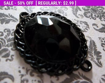 50% OFF Clearance SALE Large Black Crystal Connector or Pendant - Metal Jewelry Connector or Bracelet Component - 26 x 35mm - Qty 1