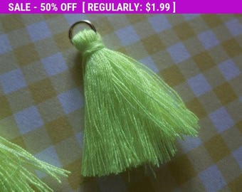 50% OFF Clearance SALE Yellow Tassels Pendants with Gold Rings - Nylon - 38mm - Qty 6