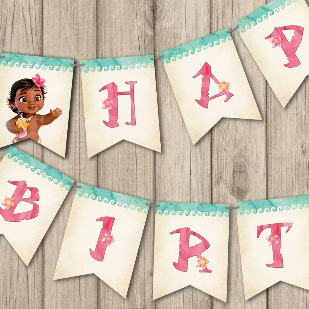 MOANA BIRTHDAY BANNER Printable Baby Moana Banner Happy