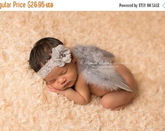 ON SALE Grey Feather Wings and Headband Set, Angel Wings, Newborn Photo Prop, Angel Baby, Baby Girl Prop, Photography Prop FREE Shipping