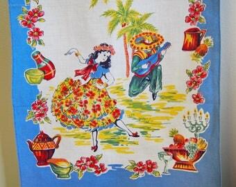 Mexican Fiesta Vintage Kitchen Tea Towel Table Runner 1950s