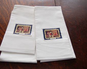 4 Cotton Pillowcases New Old Stock with Labels American Home Unused White