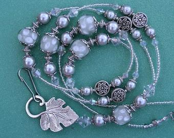 Beaded Lanyard Breakaway Lanyard ID Badge Holder Gray Grey Silver Polka Dots Magnetic Break Away teacher lariat lampwork beads