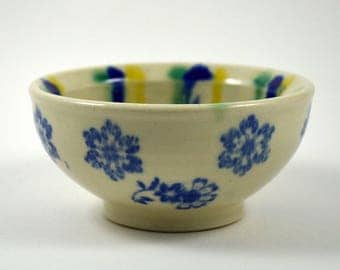 Blue and White Porcelain Rind Dish with Yellow and Green/ Ring Dish/ Porcelain Ring Dish/ Wedding Gift/ Ceramic Ring Bowl/ Small Bowl