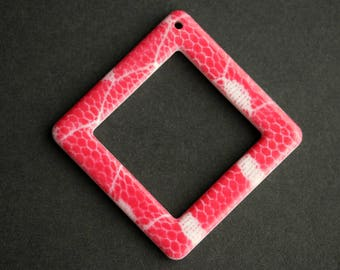 50mm Hot Pink Diamond Pendant. Hot Pink Pendant. Snake Skin Print Plastic Pendant. Connector Pendant. Vintage Pendant.