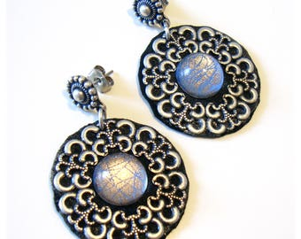 Handmade pendant round earrings black silver - Dangle drop earrings