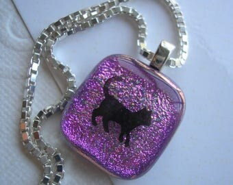 Purple Pendant with Little Cat, Fused Dichroic Glass, Cat Necklace, Sterling Silver Box Chain, Diamond Cut Necklace, Jewelry Fuschia,
