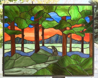 "Arts & Crafts Woodland Scene 2 --21.5"" tall x  27  5/8"" wide--Stained Glass Window Panel"