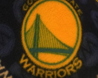 Warriors Blue with Gold Basketball Fleece 2 Layer Blanket - This Blanket is Ready to Ship Now