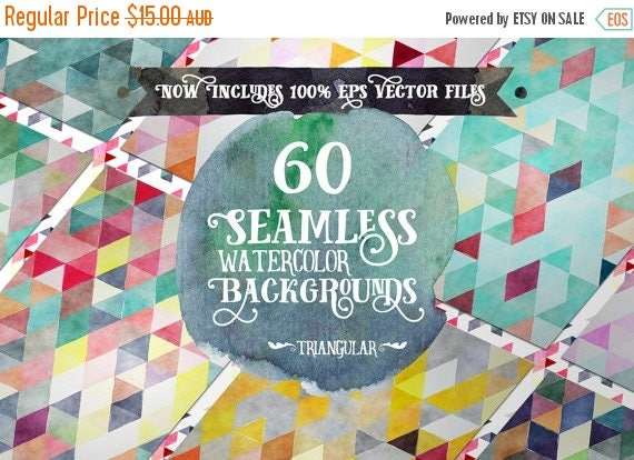 80% Off SALE Digital paper Seamless Backgrounds - 60 Watercolor Triangles - Now with EPS Vector Files included