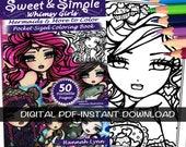 PDF DIGITAL Printable Coloring Book Sweet & Simple Mermaids Pocket Size (Half Sheet) All Ages Fantasy Mermaid Fairy Art by Hannah Lynn