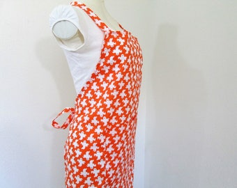 Sale-Halloween Adult bib apron - A Bright Orange with Spooky Ghosts Floating All Over, Great for creating cooking all your Halloween goodies