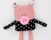 Pig Stuffed Animal-Pig Plush-Pig Softie-Pig Lovey-Pig-UpCycled-Repurposed-Hand Sewn Toy-Child Birthday Gift-Pig Toy-Hog-Swine-Toddler Gift