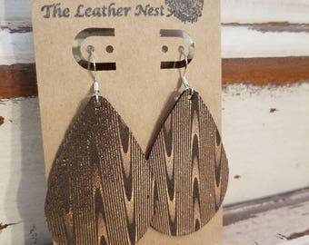 Leather Earrings, Leather Jewelry, Chocolate, Brown, Gold, Suede, Herringbone, Statement Earrings, 100% Leather, Tear Drop, Lightweight