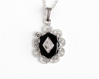 Vintage Sterling Silver Genuine Diamond & Black Onyx Gem Dainty Pendant Necklace - Retro 1950s Filigree Gemstone Small Petite Charm Jewelry