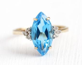 Topaz & Diamond Ring - 10k Yellow Gold Genuine Blue Topaz Marquise Gemstone - Size 6 1/4 Vintage Fine Retro 1970s Jewelry
