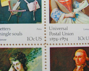 Letters Mingle Souls Full Sheet of 32 UNused Vintage US Postage Stamps 10c 1974 Quill Universal Postal Union Save the Date Philately UPU